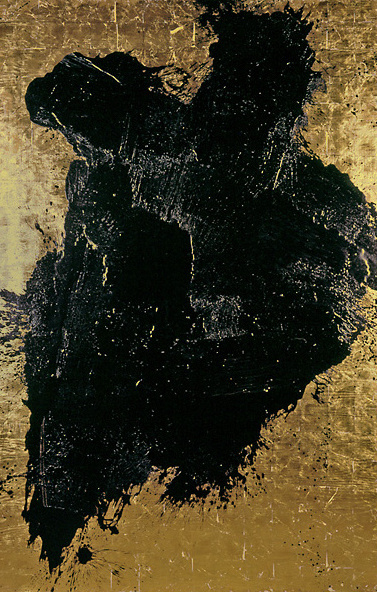 black and golden painting, art, berlin artist, monocrom, gold, art and gold