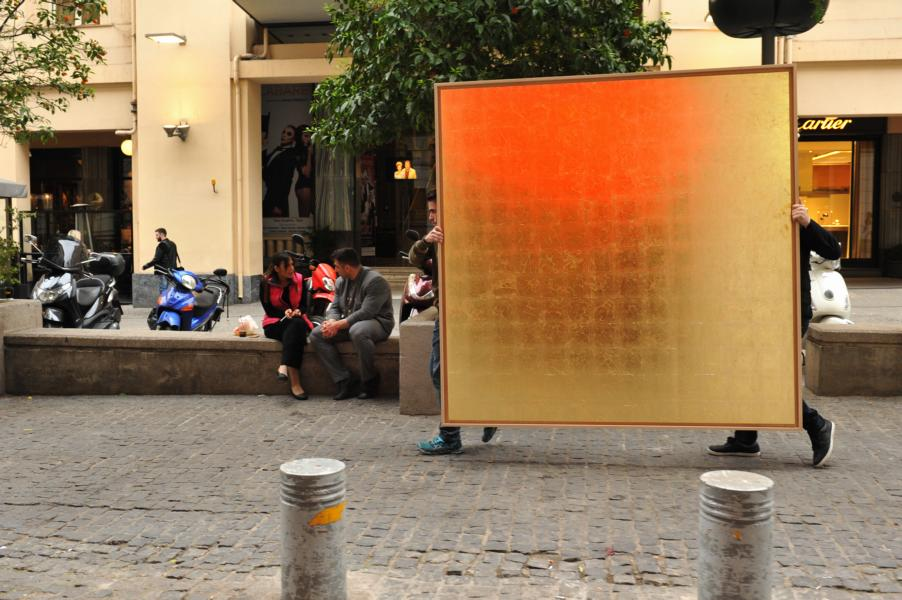 Art Actions: golden field on it´s way to Syntagma Square
