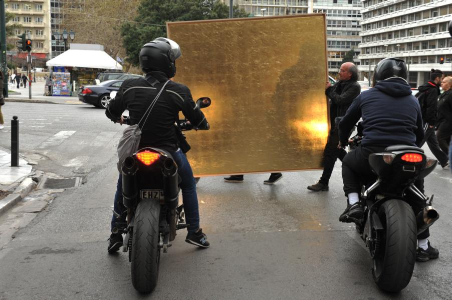 Art Actions: golden field in the streets of Athens