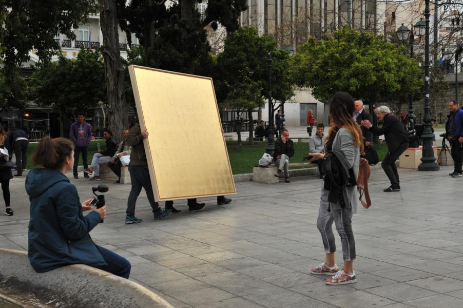 Art Actions: golden field arriving at Syntagma Square
